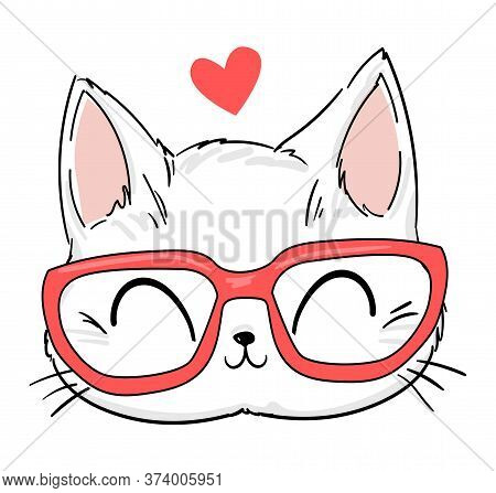 Hand Drawn Cute Cat With Glasses Sketch Vector Illustration, Print Design Cat, Children Print On T-s