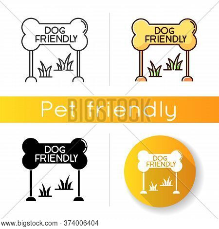 Dog Friendly Zone Icon. Puppy Allowed Park And Square Mark. Domestic Animals Permitted Territories,