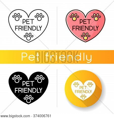 Pet Friendly Area Sign Icon. Grooming Salon Heart Shaped Logo, Animals Welcome Zone. Cats And Dogs P