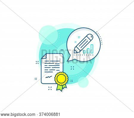 Pencil Chart Sign. Certification Complex Icon. Edit Statistics Line Icon. Seo Management Symbol. Cer