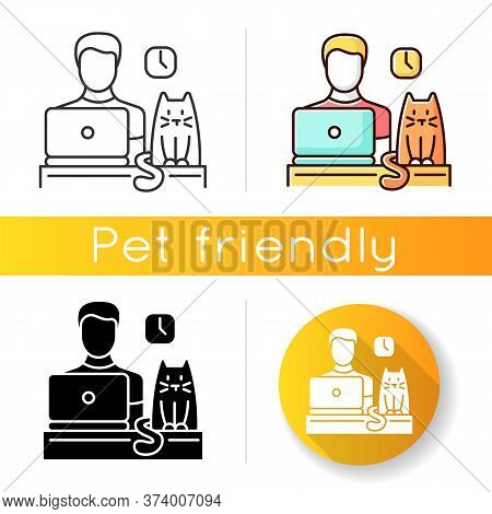 Pet Friendly Office Icon. Domestic Animal Permitted Territory. Cat At Workplace, Kitten And Human Wo