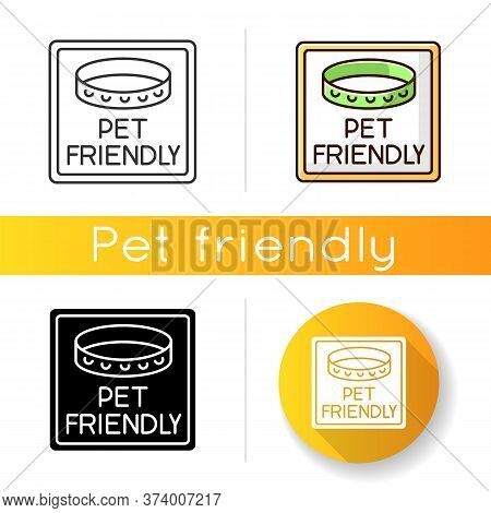 Pet Friendly Area Sign Icon. Domestic Animals With Collars Allowed. Cats And Dogs Welcome, Pets Perm