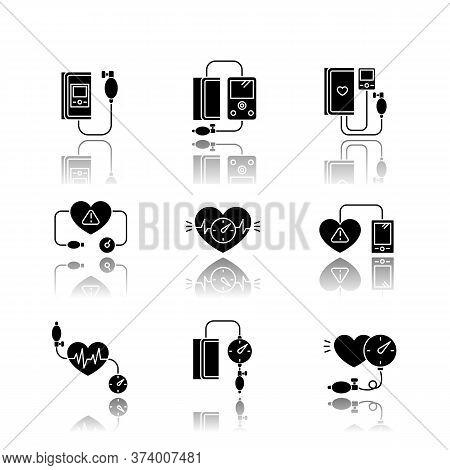Early Pregnancy Symptom Drop Shadow Black Glyph Icons Set. High Blood Pressure. Manometer Measure. H