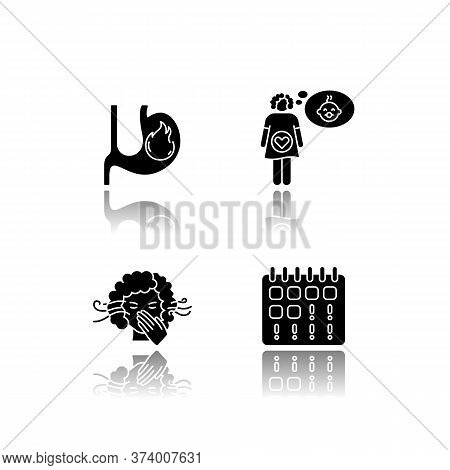 Early Pregnancy Symptom Drop Shadow Black Glyph Icons Set. Heartburn. Feeling Pregnant. Smell Sensit