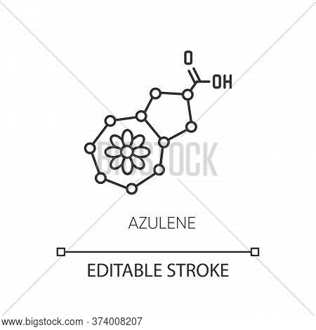 Azulene Pixel Perfect Linear Icon. Scientific Compound. Chemical Formula. Molecular Structure. Thin