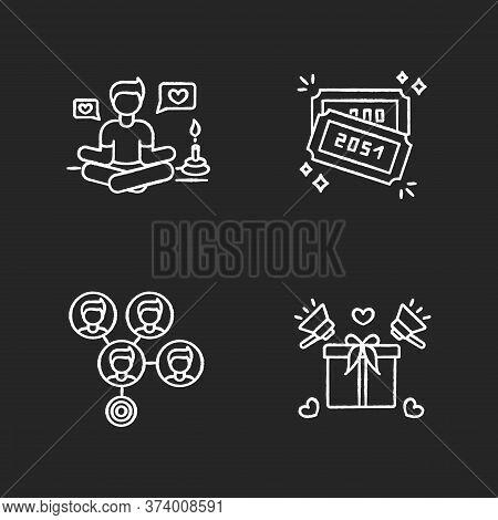 Social Media Marketing Chalk White Icons Set On Black Background. Lifestyle Guru. Raffle Tickets Wit