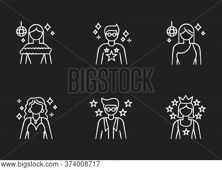 Popular Celebrity Chalk White Icons Set On Black Background. Famous Female And Male Actors. Talent S