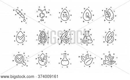 Dermatologically Tested, Paraben Chemical Formula Icons. No Artificial Colors, Organic Leaf Line Ico