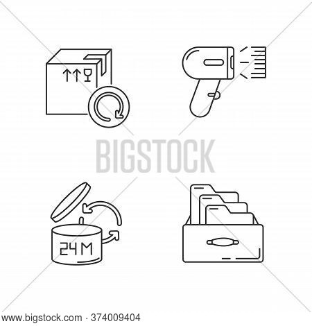 Merchandise Quality Accounting And Control Pixel Perfect Linear Icons Set. Goods Shelf Life Checking