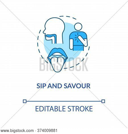 Sip And Savour Concept Icon. Wine Tasting Idea Thin Line Illustration. Evaluating Drink By Taste. Ap