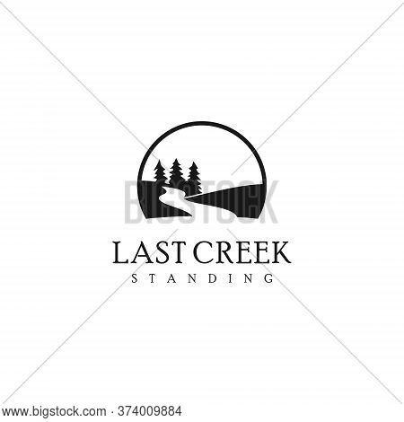 Simple Creek Logo Nature Black Color Vintage. With Pine Tree And River Vector For Landscape Graphic