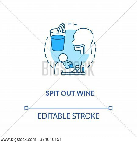 Spit Out Wine Concept Icon. Professional Sommelier Advice, Winetasting Tips Idea Thin Line Illustrat