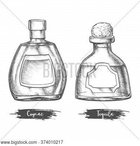 Alcohol Drink Bottles Sketch Of Cognac And Tequila