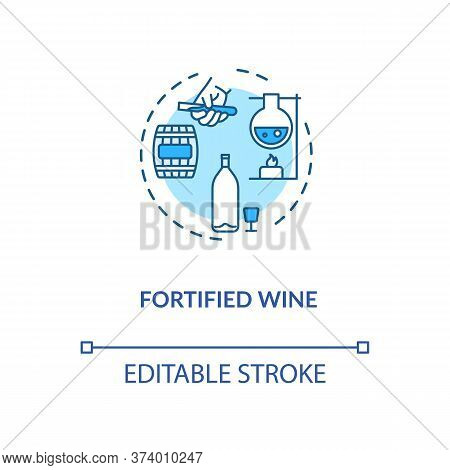 Fortified Wine Concept Icon. Strong Alcohol Beverage, Winemaking Idea Thin Line Illustration. Adding