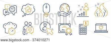 Set Of Technology Icons, Such As Ranking Stars, Time Management. Certificate, Save Planet. Calculato