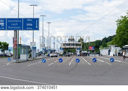 Meersburg, Bw / Germany - 22 June 2020: Car Ferry Loading Port In Meersburg With A Sign