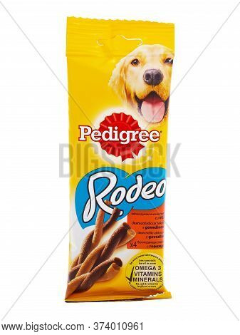 Bucharest, Romania - April 26, 2016. Pedigree Rodeo With Beef. Pedigree Rodeo Is A Great Way To Rewa