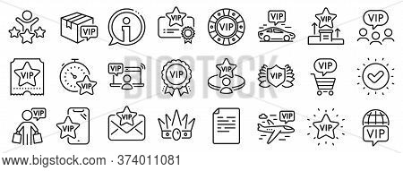Casino Chips, Very Important Person, Delivery Parcel. Vip Line Icons. Certificate, Player Table, Vip