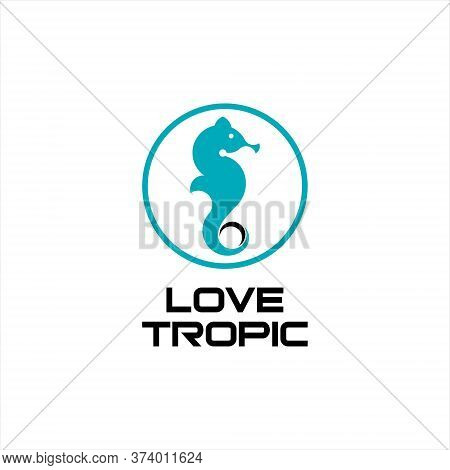Marine Logo Simple Modern Abstract Seahorse Vector Silhouette In Blue Color Circle Frame For Graphic