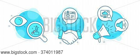 Start Business, Innovation And Recovery Cloud Line Icons Set. Handshake Deal, Research And Promotion