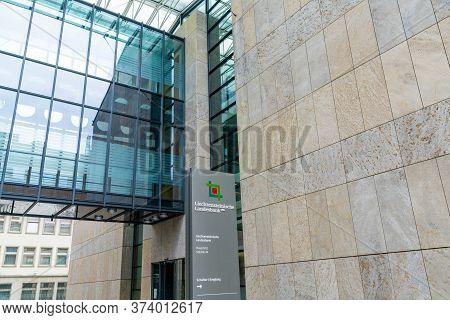Vaduz, Fl / Liechtenstein - 16 June 2020: View Of The  Liechtensteinische Landesbank Bank Headquarte