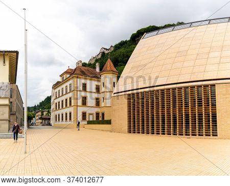 Vaduz, Fl / Liechtenstein - 16 June 2020: View Of The City Center Of Vaduz With The City Hall In The