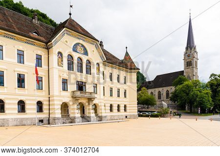 Vaduz, Fl / Liechtenstein - 16 June 2020: View Of The City Center Of Vaduz With The City Hall And Th