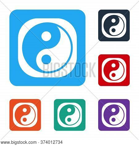 White Yin Yang Symbol Of Harmony And Balance Icon Isolated On White Background. Set Icons In Color S