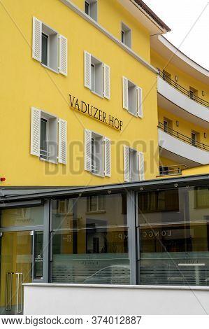 Vaduz, Fl / Liechtenstein - 16 June 2020: View Of The Famous Vaduzer Hof Hotel In Vaduz In Liechtens