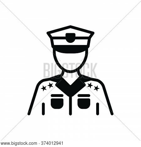 Black Solid Icon For Police Police-force Constabulary Person Law Guard