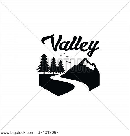 Pine Tree River Logo Vintage Black Vector Silhouette With Mountain Valley Illustration For Graphic D