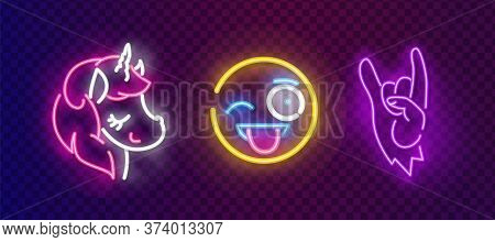 Pop Art Icons Set. Pop Art Neon Sign. Bright Signboard, Light Banner. Neon Isolated Icon, Emblem. Sm