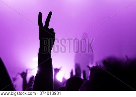 Hand Of A Dancing Fan From The Crowd At A Concert Of A Popular Group