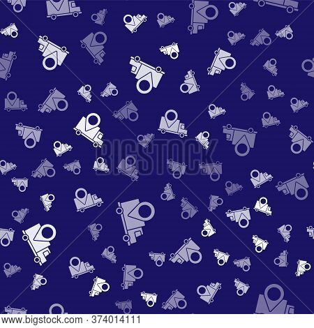 White Delivery Tracking Icon Isolated Seamless Pattern On Blue Background. Parcel Tracking. Vector I