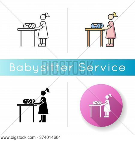 Changing Table Icon. Restroom For Mom And Child. Mother Changing Diaper For Baby. Newborn Kid Care.