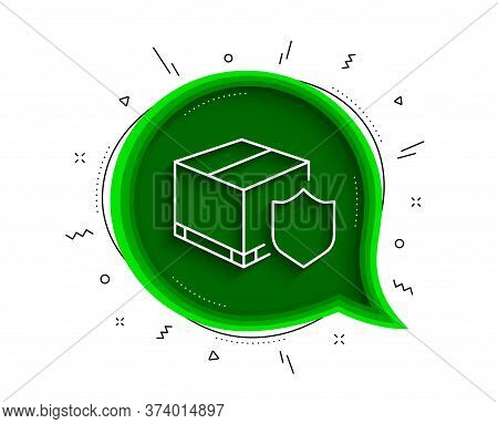 Delivery Insurance Line Icon. Chat Bubble With Shadow. Parcels Tracking Sign. Shipping Box Symbol. T