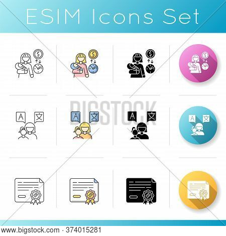 Babysitting Services Icons Set. Income From Babysitting Services. Earn Money For Child Care. Mother
