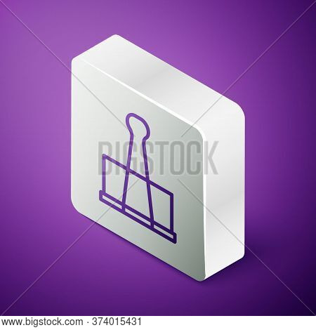 Isometric Line Binder Clip Icon Isolated On Purple Background. Paper Clip. Silver Square Button. Vec