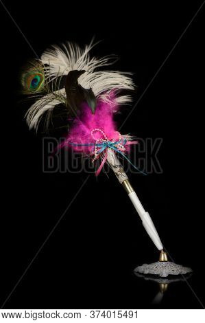 An Isolated Over A Black Background Feather Pen For Signatures And Writing.