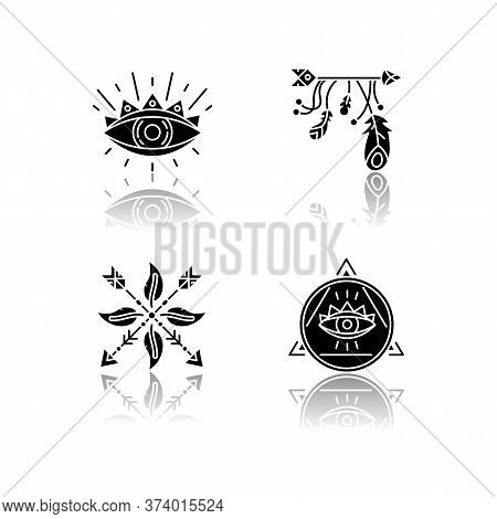 Magical Symbols Drop Shadow Black Glyph Icons Set. Eye Of Providence, Mysterious Talisman. Arrow And