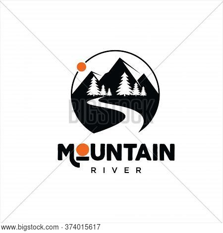 Mountain River Logo Simple Modern Circle Vector With Pine Trees For Nature Graphic Template Or Outdo