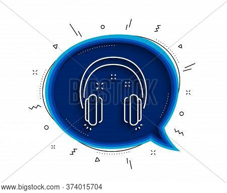 Headphones Line Icon. Chat Bubble With Shadow. Music Listen Sign. Musical Earphones Symbol. Thin Lin