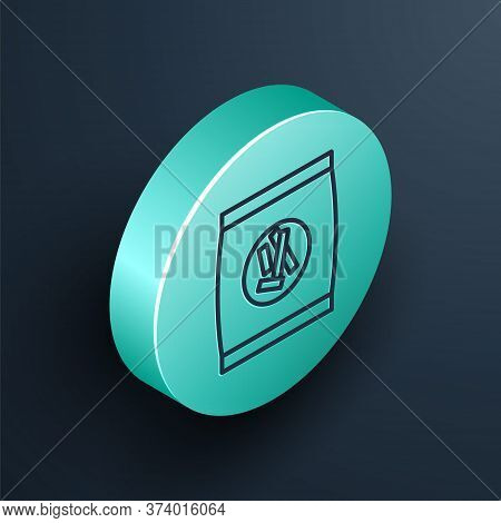 Isometric Line Hard Bread Chucks Crackers Icon Isolated On Black Background. Turquoise Circle Button