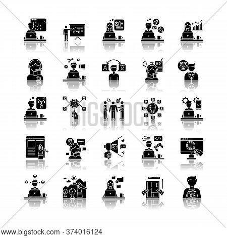 Freelance Professions Drop Shadow Black Glyph Icons Set. Web Development And Graphic Designing, Tuto