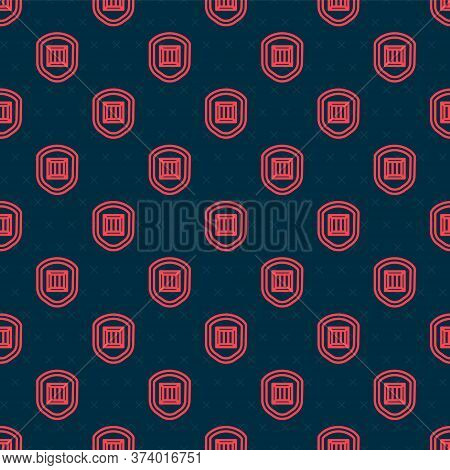 Red Line Delivery Security With Shield Icon Isolated Seamless Pattern On Black Background. Delivery