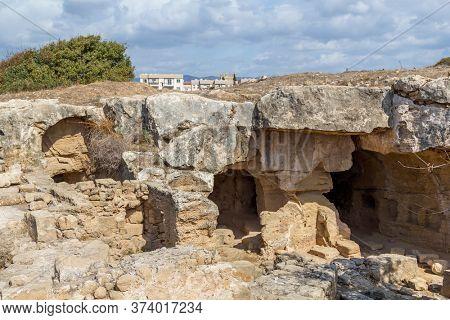 Ancient Paphos Sandstone Catacombs, Cyprus Island.