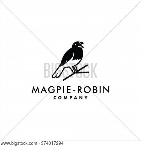 Magpie Logo Robin Bird Vector Animal Silhouette Standing In Branch For Bird Lover Graphic Design Tem