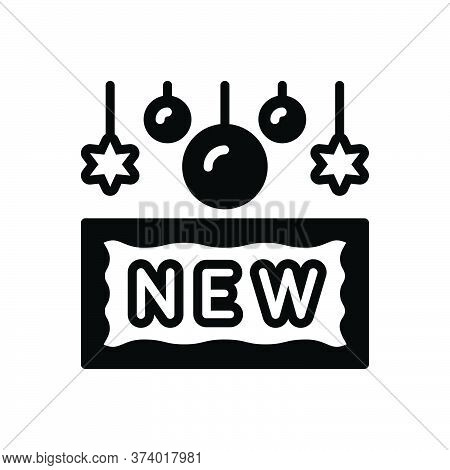 Black Solid Icon For New Recent Latest Brand-new