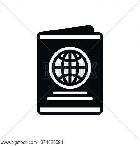 Black Solid Icon For Passport Immigration Document Identification Emigration