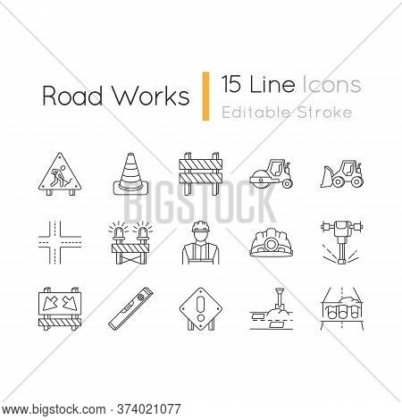Road Works Pixel Perfect Linear Icons Set. Roadsign For Construction. Worker In Safety Helmet. Custo